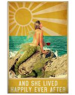 Lived Happily Mermaid She lived Happily Ever After Spread Inspiration Poster - Gift For Home Decor Wall Art Print Vertical Poster No Frame Full Size