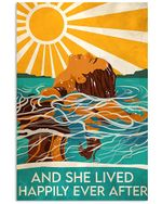Swimming - And She Lived Happily Ever After Spread Inspiration Poster - Gift For Home Decor Wall Art Print Vertical Poster No Frame Full Size