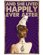Tattoo On Girl Back Shadow And White Cat She Lived Happily Ever After Spread Inspiration Poster - Gift For Home Decor Wall Art Print Vertical Poster No Frame Full Size