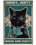 Tattoo Black Cat Nerdy, Dirty Inked And Curvy Spread Inspiration Poster - Gift For Home Decor Wall Art Print Vertical Poster No Frame Full Size