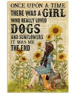 Girl Really Loved Dogs And Sunflowers Spread Inspiration Poster - Gift For Home Decor Wall Art Print Vertical Poster No Frame Full Size