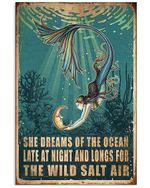 Mermaid She Dreams Of The Ocean Late At Night Spread Inspiration Poster - Gift For Home Decor Wall Art Print Vertical Poster No Frame Full Size