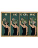 Gardening Girl Be Kind To Your Mind Horizontal Poster Gift For Men, Women, On Birthday, Xmas, Home Decor Wall Art Print No Frame Full Size