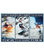 Kayaking It's Not A Hobby It's My Passion Horizontal Poster Gift For Men, Women, On Birthday, Xmas, Home Decor Wall Art Print No Frame Full Size
