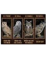 Owl Be Strong When You Are Weak Horizontal Poster Gift For Men, Women, On Birthday, Xmas, Home Decor Wall Art Print No Frame Full Size