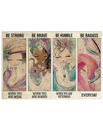 Cartoon Mermaid Be Strong When You Are Weak Horizontal Poster Gift For Men, Women, On Birthday, Xmas, Home Decor Wall Art Print No Frame Full Size