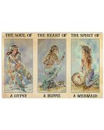 Mermaid The Soul Of A Gypsy The Spirit Of Mermaid Horizontal Poster Gift For Men, Women, On Birthday, Xmas, Home Decor Wall Art Print No Frame Full Size