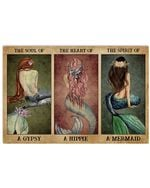 Mermaid Back Shadow The Soul Of A Gypsy Horizontal Poster Gift For Men, Women, On Birthday, Xmas, Home Decor Wall Art Print No Frame Full Size