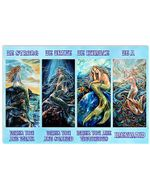 Mermaid Be Strong When You Are Weak Be A Mermaid Horizontal Poster Gift For Men, Women, On Birthday, Xmas, Home Decor Wall Art Print No Frame Full Size