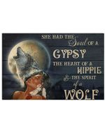 Native American Girl She Had A Soul Of A Gypsy The Spirit Of A Wolf Horizontal Poster Gift For Men, Women, On Birthday, Xmas, Home Decor Wall Art Print No Frame Full Size