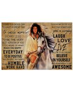 Native American Girl And White Horse Today Is A Good Day Horizontal Poster Gift For Men, Women, On Birthday, Xmas, Home Decor Wall Art Print No Frame Full Size