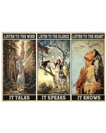 Native American Girl Listen To The Heart It Knows Horizontal Poster Gift For Men, Women, On Birthday, Xmas, Home Decor Wall Art Print No Frame Full Size