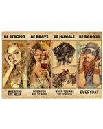 Beautiful Girls Be Strong When Weak Be Brave When Scared  Horizontal Poster Gift For Men, Women, On Birthday, Xmas, Home Decor Wall Art Print No Frame Full Size