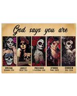 Skull Girls God Says You Are Special Horizontal Poster Gift For Men, Women, On Birthday, Xmas, Home Decor Wall Art Print No Frame Full Size