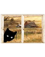 Black Cat Looking Outside Horizontal Poster Perfect Gift For Men, Women, On Birthday, Xmas, Home Decor Wall Art Print No Frame Full Size