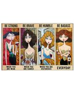 Cartoon Sexy Girl Be Strong When You Are Weak Horizontal Poster Perfect Gift For Men, Women, On Birthday, Xmas, Home Decor Wall Art Print No Frame Full Size
