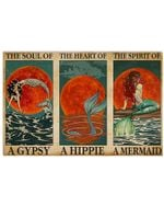 Mermaid Red Moon A Soul Of A Gypsy Horizontal Poster Perfect Gift For Men, Women, On Birthday, Xmas, Home Decor Wall Art Print No Frame Full Size