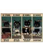 Black Cat and Sewing Machine Be Strong When You Are Weak  Horizontal Poster Gift For Men, Women, On Birthday, Xmas, Home Decor Wall Art Print No Frame Full Size