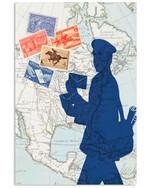 Postal Worker World Map Vertical Poster Gift For Men, Women, On Birthday, Xmas, Home Decor Wall Art Print No Frame Full Size