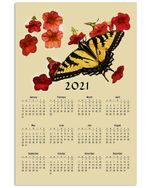 Butterfly 2021 Calendar Vertical Poster Gift For Men, Women, On Birthday, Xmas, Home Decor Wall Art Print No Frame Full Size