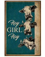 Cow Art Hay Girl Hay Vertical Poster Gift For Men, Women, On Birthday, Xmas, Home Decor Wall Art Print No Frame Full Size