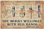 She Works Willingly with her Hands Hairdresser Flower Book Sheet Poster, Home Decor,Wall Art Print, Vintage, Retro No Frame, Full Size.