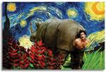 NATVVA The Rhino in Ace Ventura Funny Movie Poster Van Gogh Starry Night Cross Mix Vintage Retro Art Print Home Wall Decor No Frame Poster