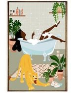 Black Girl On Bathroom Vertical Poster Vintage Retro Art Picture Home Wall Decor No Frame Full Size