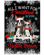 Boston Terrier All I Want For Christmas Is You Poster Home Wall Decor Gifts For Christmas, Birthday, Thanksgiving