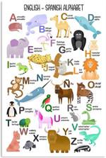 Zoo Animals Art English Spanish Of Children Alphabet Classroom Poster No Frame Teacher Gifts School Wall Art