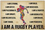 I Am Strong I Am Rugby Player Female Artwork Wall Home Decor Horizontal No-Frame Poster