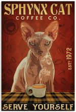 Vintage Sphynx Cat Coffee Co Serve Yourself Poster No Frame Cat Lovers Print Gifts Wall Art House Decor For Xmas Birthday
