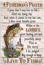 A Fisherman's Prayer Live To Fish Wood Look Artwork Wall Home Decor Vertical No-Frame Poster Housewarming Birthday Friend
