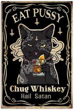 Funny Black Cat Gangster Eat Pussy Chug Whiskey Hail Satan Artwork Wall Art Home Decor Vertical No-Frame Poster