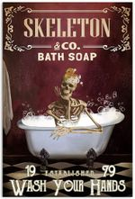 Skull Red Skeleton And Co Bath Soap 19 Established 79 Wash Your Hands Bathtub Bathroom Vintage Retro Wall Decor No-Frame Poster
