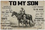 To My Son from Dad Horse Riding Cowboy Hobby Quote Black White Monochromatic Vintage Retro Art Decor No Frame Poster