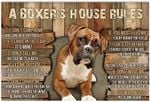 A Boxer's House Rules Funny Boxer Dog Lover Horizontal Poster No Frame Full Size