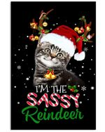 Christmas Poster Cat I'm The Sassy Reindeer Vertical Poster Perfect Gifts For Cat Lover, On Birthday, Xmas, Home Decor Wall Art Print No Frame Full Size
