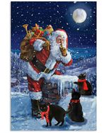 Christmas Poster Black Cat On The Roof With Santa Claus Vertical Poster Perfect Gifts For Man, Woman, On Birthday, Xmas, Home Decor Wall Art Print No Frame Full Size