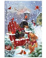 Christmas Poster Dachshund Sitting On Red Chair Vertical Poster Perfect Gifts For Dog Lover, On Birthday, Xmas, Home Decor Wall Art Print No Frame Full Size