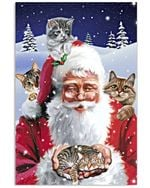Christmas Poster Santa Claus With Four Cute Cats Vertical Poster Perfect Gifts For Cat Lover, On Birthday, Xmas, Home Decor Wall Art Print No Frame Full Size