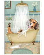 Funny Dog Beagle Bath Vertical Poster Gift For Men, Women, On Birthday, Xmas, Home Decor Wall Art Print No Frame Full Size