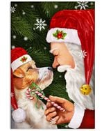Christmas Poster Santa Claus With Cute Dog Vertical Poster Perfect Gifts For Men, Women, On Birthday, Xmas, Home Decor Wall Art Print No Frame Full Size