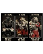 Pitbull Boxing Be Strong When You Are Weak Horizontal Poster Gift For Men, Women, On Birthday, Xmas, Home Decor Wall Art Print No Frame Full Size