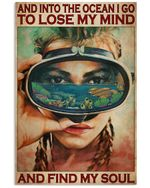 Girl Diving And Into The Ocean I Go To Lose My Mind Vertical Poster Gift For Men, Women, On Birthday, Xmas, Home Decor Wall Art Print No Frame Full Size