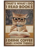 Cat Read Book Drink Coffee Vertical Poster Home Decor Gifts For Christmas, Birthday, Thanksgiving