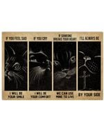 Black Cat Night Sky If You Feel Sad Horizontal Poster Home Decor Gifts For Christmas, Birthday, Thanksgiving