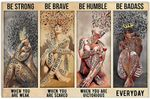 Be Strong Be Brave Be Humble Be Badass 4 Naked Girl Motivation Quote Wall Art Home Decor No Frame Poster | Music and Wine Poster, Girl Loves Music Poster For Music Lovers, Christmas Gifts For Women, Birthday Gifts For Her
