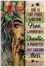 Hippie She is Life Itself Vertical Poster - Girl Hippie Art Printed Quotes wallart Poster for Christmas, X-mas, Easter, Halloween