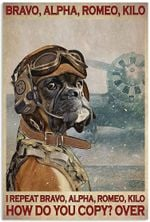 Bravo Alpha Romeo Kilo Poster, Funny Pilot Pug Dog Lovers Vertical Poster No Frame Full Size